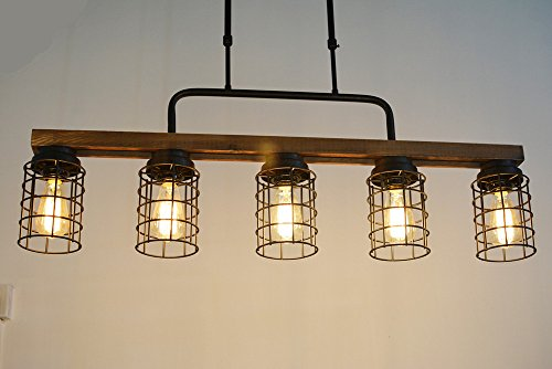 Baiwaiz Wood Pool Table Light, Rustic Kitchen Island Lighting Metal Cage Linear Chandelier Industrial Farmhouse Dining Room Light Fixture 5 Light Edison E26 069