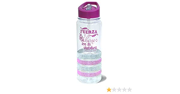 Amazon.com: Botella de Agua de Plastico Rosa Gemas 25 Ounce Verso Biblico Probverbios 31:25: Home & Kitchen