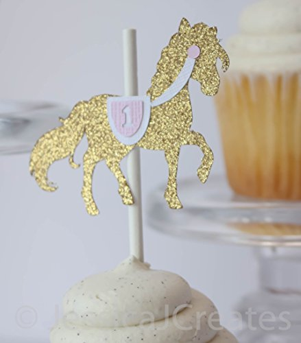 Carousel Horse Cupcake Toppers - Gold Cupcake Toppers - Gold Glitter - Horse Cupcake Topper - 12 ct - Carousel Cake Decorations