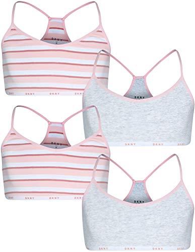 DKNY Girls Cotton/Spandex Racerback Training Sport Bra (4 Pack), Lotus Stripe/Heather Grey, Size Medium / 8-10'