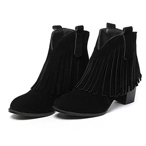Block Black Boots Women 5cm Heel VulusValas a7WqZ45x07