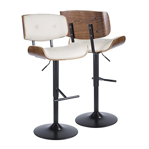 - WOYBR BS-JY-LMB WL+CR Wood, Pu Leather, Metal Lombardi Barstool