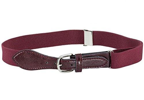 Kids Elastic Adjustable Belt with Leather Closure - Burgundy Maroon