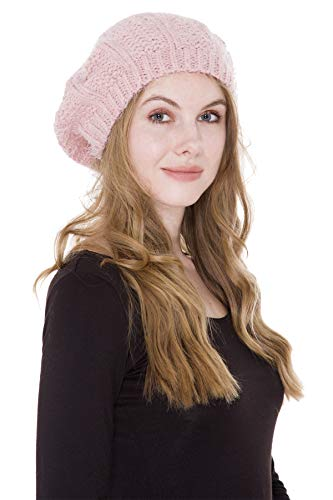Janice Apparel Women's Warm Soft Plain Color Winter Cable Knitted Beret Beanie Hat Skull Cap (Pink)