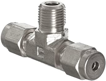 """Parker A-Lok 8MBT8N-316 316 Stainless Steel Compression Tube Fitting, Branch Tee, 1/2"""" Tube OD x 1/2"""" NPT Male x1/2"""" Tube OD"""