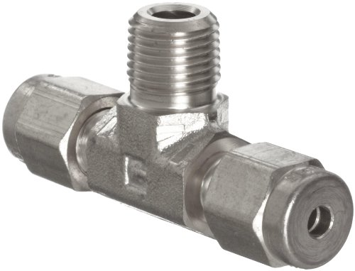 """Parker A-Lok 4MBT4N-316 316 Stainless Steel Compression Tube Fitting, Branch Tee, 1/4"""" Tube OD x 1/4"""" NPT Male x 1/4"""" Tube OD"""