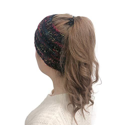 MEANIT Womens Knit Confetti Cable Headband Crochet Twist Head Wrap Ear Warmer Black