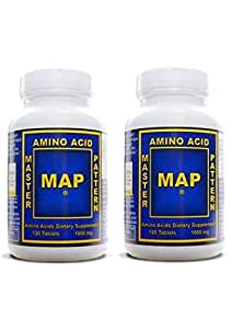 MAP 2 x Master Amino Acid Pattern 1000mg 120 Tablets Muscle Building by PAM