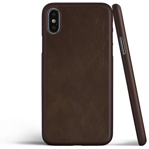 totallee iPhone X Leather Case, Thinnest Genuine Cover for Apple iPhone X - Ultra Thin, Slim & Real Premium Genuine Leather Back (Mocha Brown)