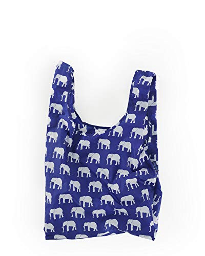 BAGGU Standard Reusable Shopping Bag, Ripstop Nylon Grocery Tote or Lunch Bag, Recycled Elephant Blue ()