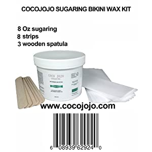 8 Oz Cocojojo Sugaring Bikini Wax Kit - Sugaring Hair Removal - 8 Oz Sugar Wax - 8 Strips - 3 Wooden Spatulas for Bikini Waxing Hair Removal Sugaring Cocojojo Cleopatra Egyptian Sugar Wax Hair Removal 100% Natural Paste 100% Organic and Natural with Egyptian Calendula and Chamomile - Epilation Waxing - Sugaring Hair Remover - Sugaring Gel