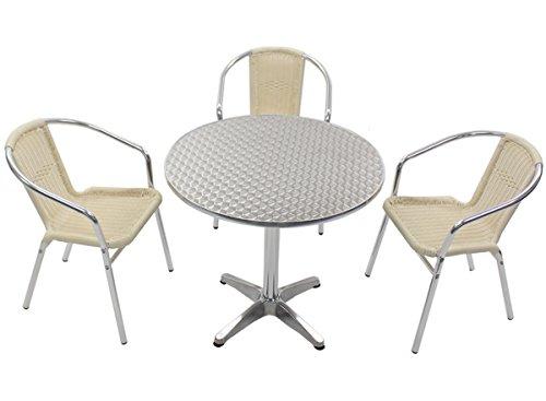 ガーデン4点セット ガーデンテーブル4点セット ガーデンテーブルセット 人工ラタン アルミチェア ダイニングチェア ロビーチェア ガーデンチェア スタッキングチェア ビーチチェア スタッキング アウトドア リゾート ラタン (人工) 白 ホワイト L24WH L61 W80 B014GR7GQS