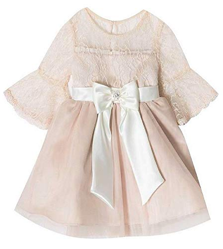 Rare Editions Baby Girls Size 12M-24M Taupe Lace Ivory Satin Dress - Premier Satin Ivory