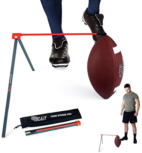 True Strike Pro Football Kicking Holder Tee - Premium Quality Field Goal Kicking Holder Compatible with All Ball Sizes - Super Strong Football Tee with Free Bonus Kick Improvement Tracker