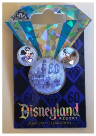 Disneyland 60th Anniversary Diamond Celebration Stone Mickey Ears Icon Trading Pin (Ears Mickey Icon)