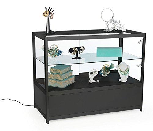 Displays2go 48 Inch Retail Showcase, w/Storage, LED Lights, Lockable Sliding Door - Black (SCTCT48LDB) ()