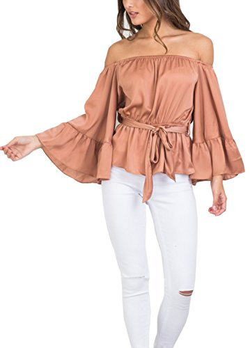 Women's Off Shoulder Tops Long Sleeve Shirt Strapless Casual Blouses