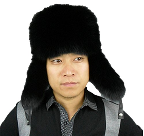 YR Lover Men's Fox Fur Trapper Hats Snow Caps Outdoor Warm Earmuffs Beret Hat