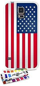 Carcasa Flexible Ultra-Slim SAMSUNG GALAXY S5 de exclusivo motivo [Bandera usa] [Blanca] de MUZZANO  + ESTILETE y PAÑO MUZZANO REGALADOS - La Protección Antigolpes ULTIMA, ELEGANTE Y DURADERA para su SAMSUNG GALAXY S5