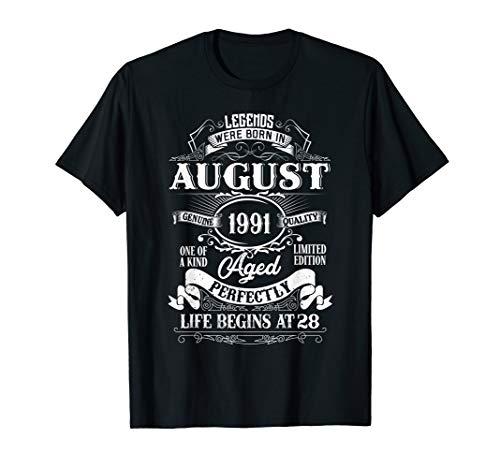 August 1991 28th Birthday Gift 28 Year Old Men Women Tee