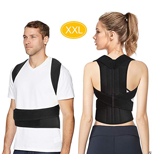 Back Brace Posture Corrector for Men and Women, Adjustable Full Lumbar Back Brace Belts for Slouching and Hunching to Improve Bad Posture Thoracic Kyphosis and Upper Back Pain Relief (XXL)