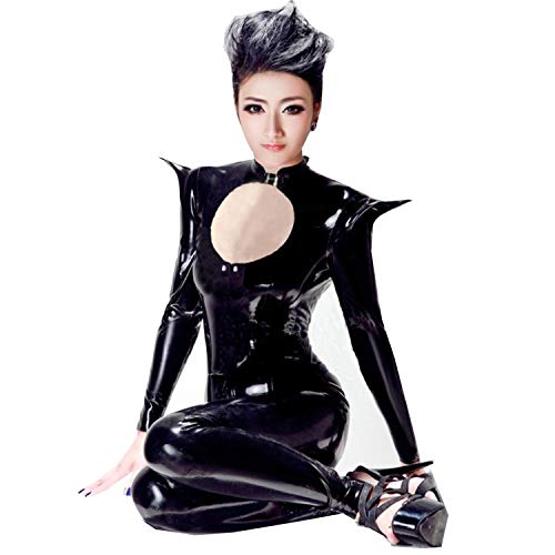FASHION QUEEN Women's Metallic Catsuit Fetish Clubwear Erotic Halloween Costumes Bodysuit (XXL, -