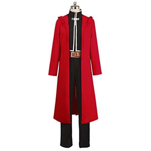 HOLRAN Fullmetal Alchemist Halloween Costume Edward Elric Cosplay Red Full Suit (M, Red) -