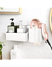 YOHOM Hair Dryer Holder Organizer With Storage Shower Caddy Rack Adhesive Wall Organizer Blow Dryer Holder Bathroom Accessories Organizers Storage Set for Hair Care Styling Tool - White