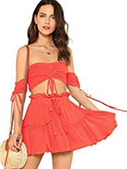 Floerns Women's Two Piece Outfit Off Shoulder Drawstring Crop Top and Skirt