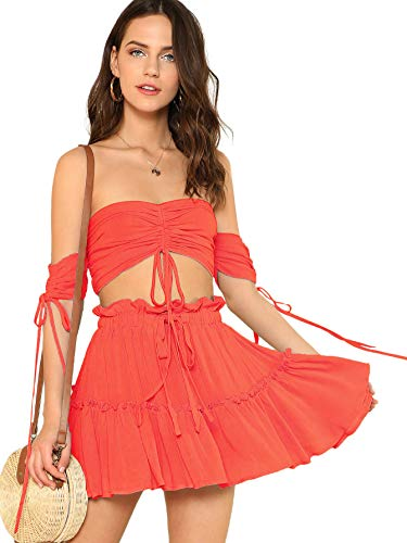 (Floerns Women's Two Piece Outfit Off Shoulder Drawstring Crop Top and Skirt Set Orange S)