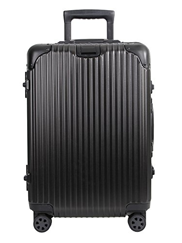 AOKING 20/24 Inch TSA Lock Aluminum Frame Hardside Carry On Luggage Spinner Suitcase (Black, 24 Inch)