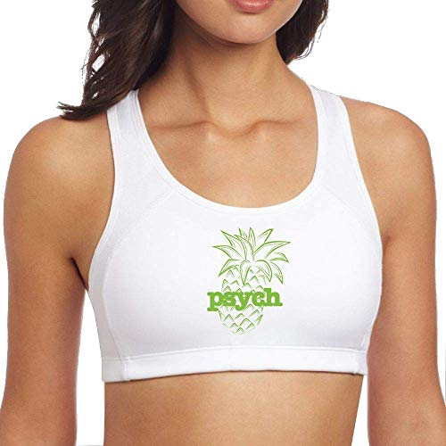 Psych Pineapple Racerback Sport Bras for Women High Impact Support for Yoga Gym Workout Fitness White