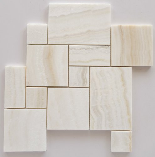 White Onyx OPUS Mini Pattern Mosaic Tile, Vein-Cut, Polished - Box of 5 Sheets