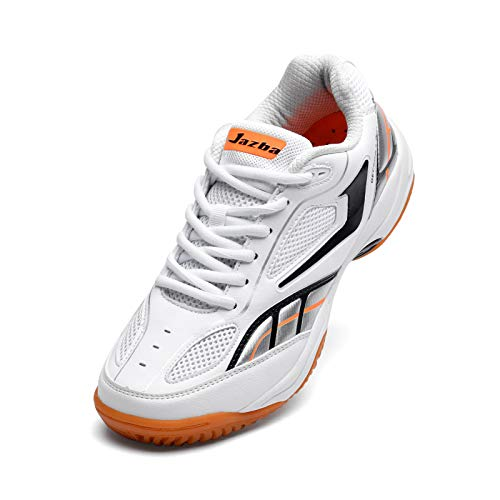 Jazba Volleyball Tennis Badminton Shoes - GECKOR 1.0 Men's Indoor Court Sports Shoes - Fashion Mesh Racquetball Squash Table Tennis Pickleball Training Sneakers White/Navy
