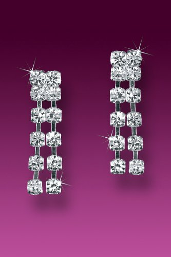 (Clear Rhinestones Quality Fashion Dangle Earrings Double Row Chain Drop Design)