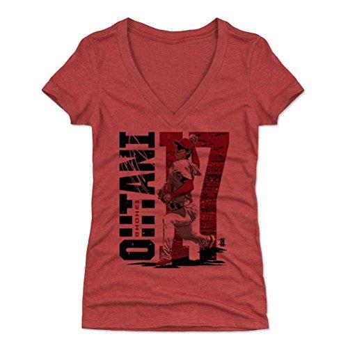 500 LEVEL Shohei Ohtani Women's V-Neck Shirt Medium Tri Red - Los Angeles Baseball Women's Apparel - Shohei Ohtani Stadium R