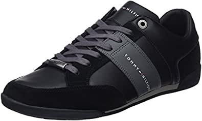 Tommy Hilfiger Men's Corporate Material Mix Cupsole Low-Top Sneakers, (Black 990), 11 UK,FM0FM01778