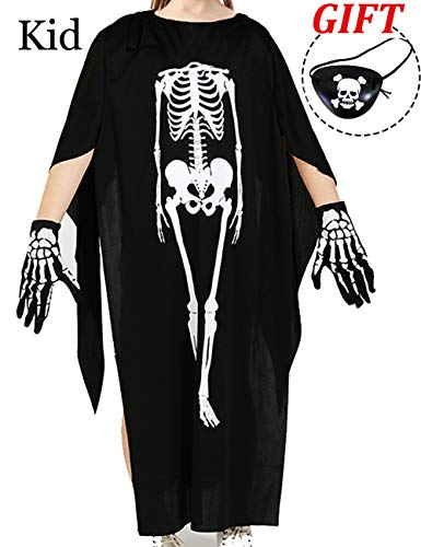 AkiWoo Halloween Party Costume Kids Adult Scary Skeleton Cosplay Dress up Cape with Bones Gloves&Eye Mask]()