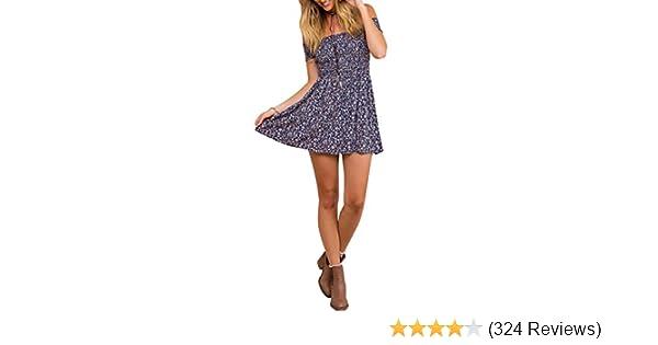 e30cf509d4 BerryGo Women's Vintage Off Shoulder High Waist Floral Print Beach Mini  Dress at Amazon Women's Clothing store: