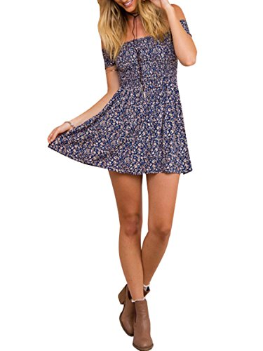 (BerryGo Women's Vintage Off Shoulder High Waist Floral Print Beach Mini Dress Blue)
