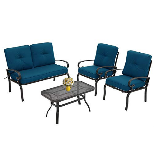 Incbruce 4Pcs Outdoor Indoor Patio Furniture Conversation Set (Loveseat, Coffee Table, 2 Chairs) – Steel Frame Patio Seating Set with Peacock Blue Cushions