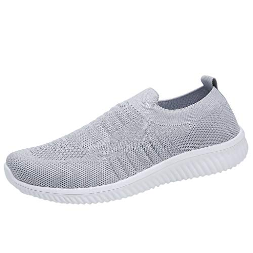 Athletic Horseshoes Ladies - OrchidAmor 2019 Basic Non-Slip Women's Leisure Comfortable Flyknit A Pedal Athletic Sneakers Cozy Shoes Grey