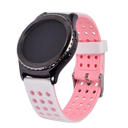 Lwsengme Silicone Quick Release - Choose Color & Width (18mm, 20mm,22mm) - Soft Rubber Replacement Watch Strap (18mm-White/Pink) (Mm Soft 22 Rubber)