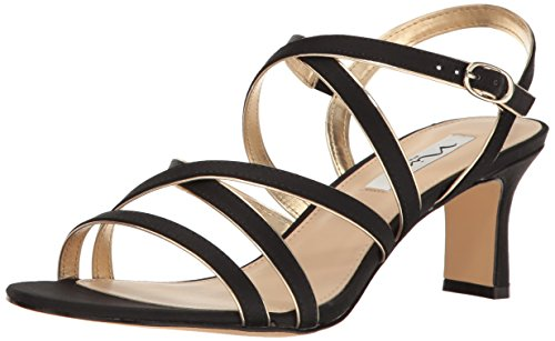 NINA Women's Genaya Dress Sandal, Ls-Black/Soft Gold, 8 M US
