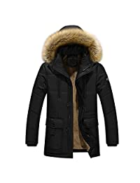 URBANFIND Men's Regular Fit Winter Faux Fur Hooded Zipper Parka Coats