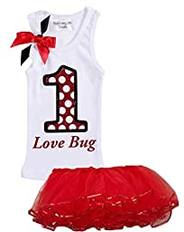 Bubblegum Divas Baby Girls\' 1st Birthday Shirt Ladybug Red Tutu Outfit 18 Mos
