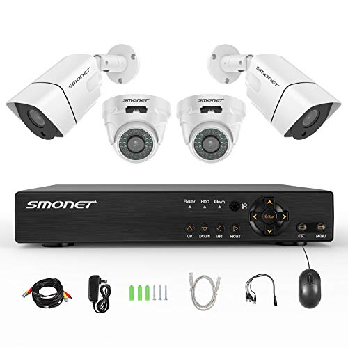[8CH Expandable] 1080P Security Camera System,SMONET 8CH 5-in-1 1080P CCTV Camera System(1TB Hard Drive),4pcs 2MP Outdoor&Indoor Security Cameras,Super Night Vision,P2P,Free APP,Easy Remote Review