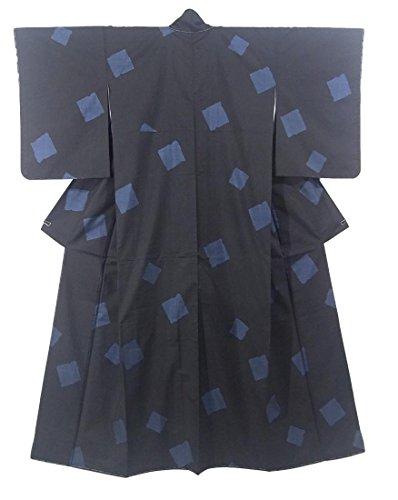 過半数追う拒絶リサイクル 着物 大島紬  カタス式9マルキ 色紙文様 正絹 袷 裄63cm 身丈164cm