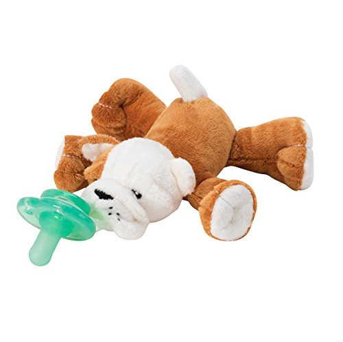 Nookums Paci-Plushies Bull Dog Shakies - Pacifier Holder and Rattle (2 in 1) (Plush Toy Includes Detachable Pacifier, Use with Multiple Brand Name Pacifiers) by Nookums (Image #1)