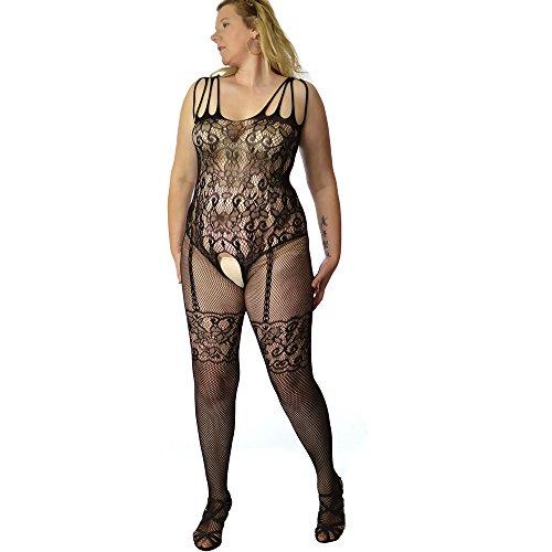 Fishnet body stocking club wear funky back seamed stockings Plus+ US Size 12 14 16 18 20 - Fishnet Clubwear